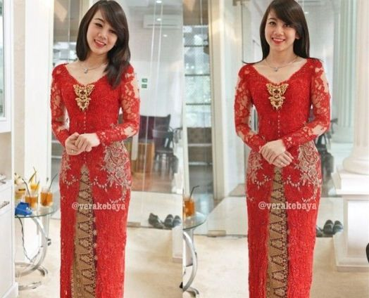 Model Vera Kebaya Warna Merah Lengan Panjang Kerah V ...
