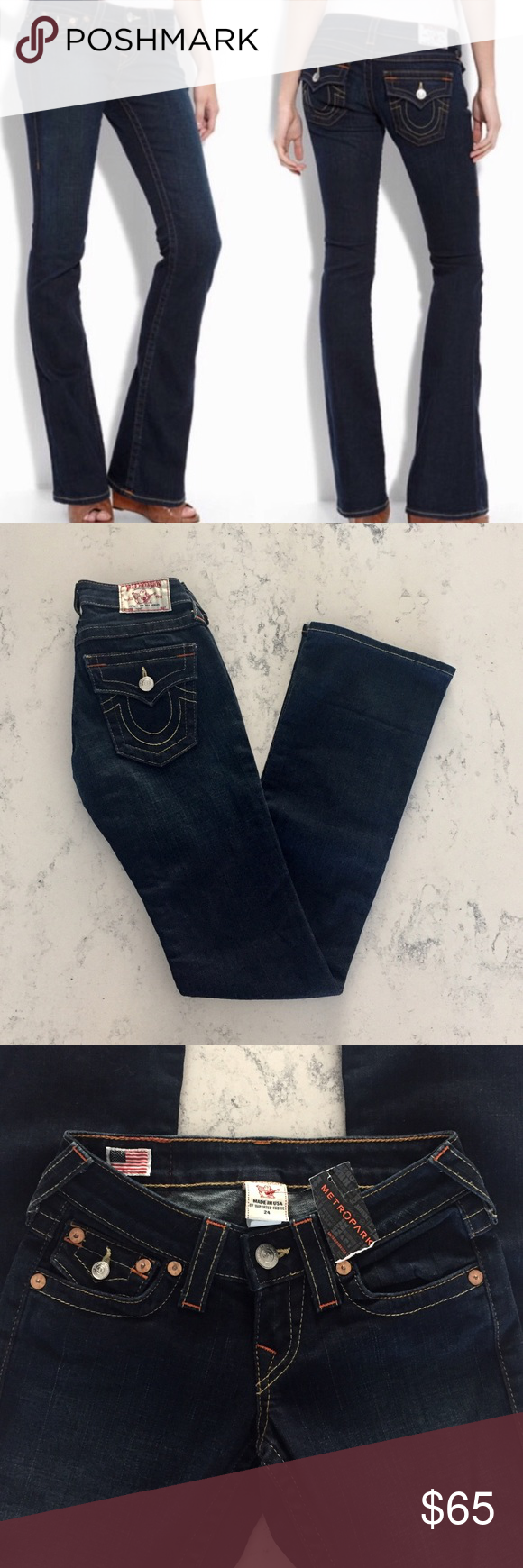 True Religion Tony bootcut jeans in dark lonestar True Religion presents a streamlined take on your wardrobe standby. Tony cut in the lonestar (medium dark blue) wash features fading on front thighs and seat for a sleek, slimming look. Button-flap back and coin pockets feature True Religion signature horseshoe stitching. Low, hip-slung rise is contoured to eliminate gapping. Slim through hip, thigh, and knee; breaks below knee into flattering, dramatic boot-cut. Five-pocket style. Button/zip…