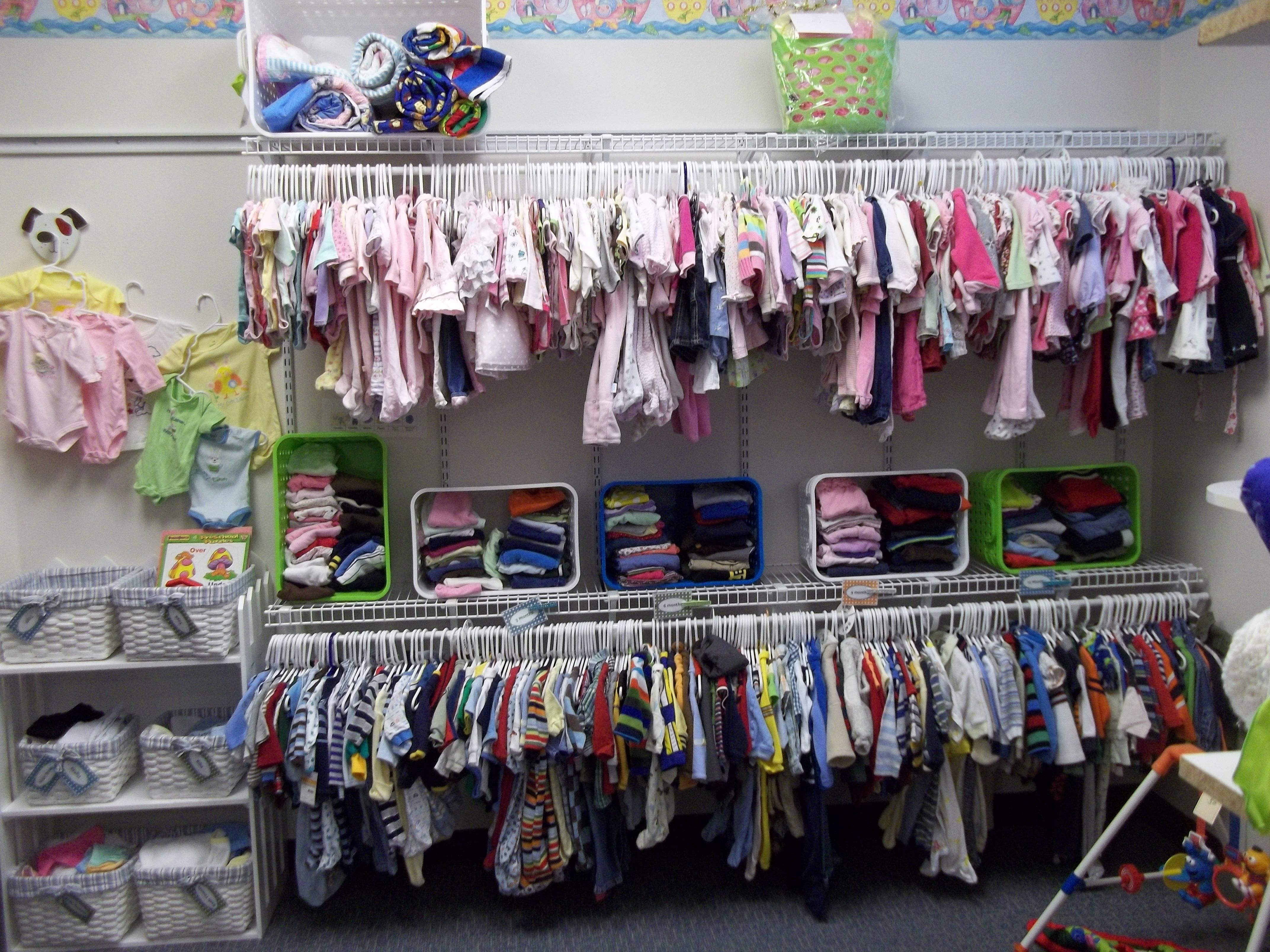 "This is our baby boutique where clients can used their earned vouchers to ""purchase"" clothes and baby items.  Volunteers are needed to help sort and display these items."