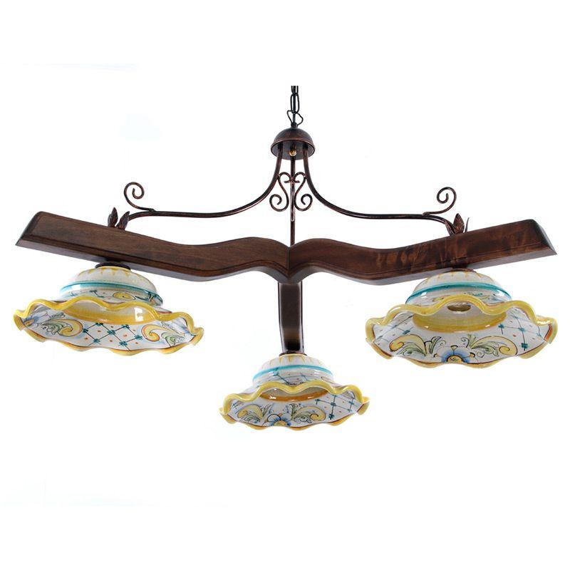 Lampadari In Ceramica Di Caltagirone.Lampadario In Ceramica E Legno 3 Luci Ceramica Lampadario Lampadari