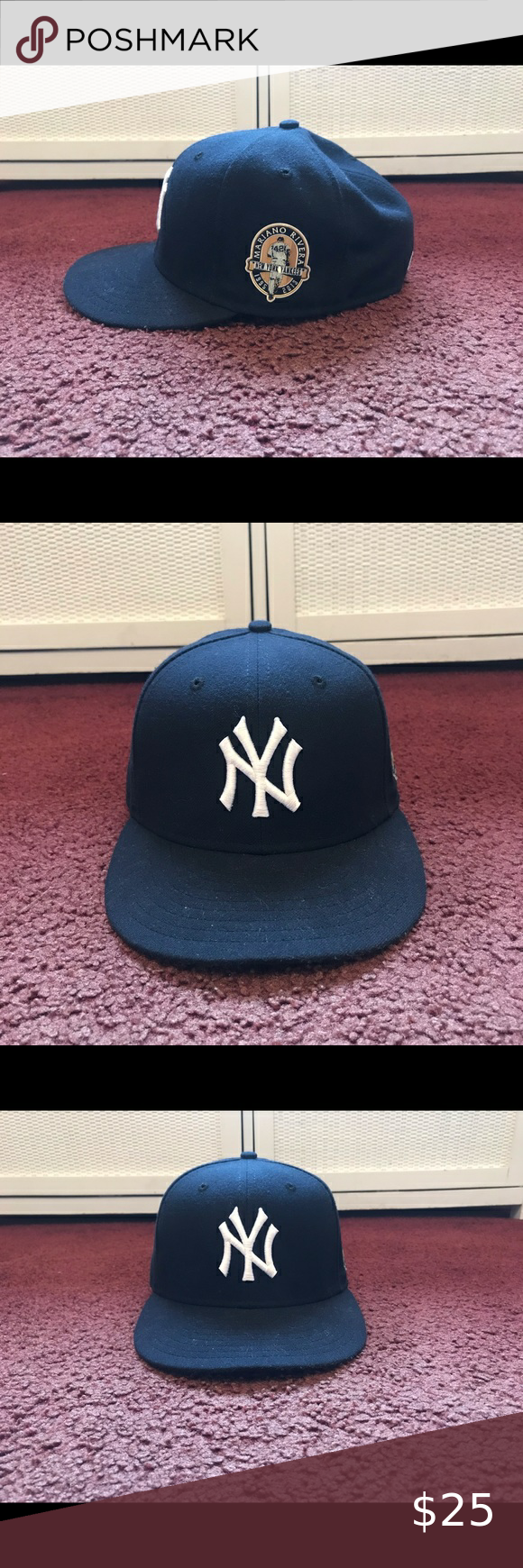 Ny Yankees Mariano Rivera Patch Fitted Hat 7 1 8 Fitted Hats Ny Yankees Yankees