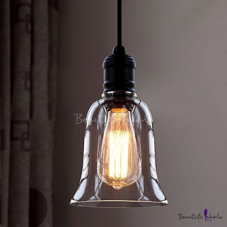 Single Light Led Mini Pendant With Clear Bell Gl Shade