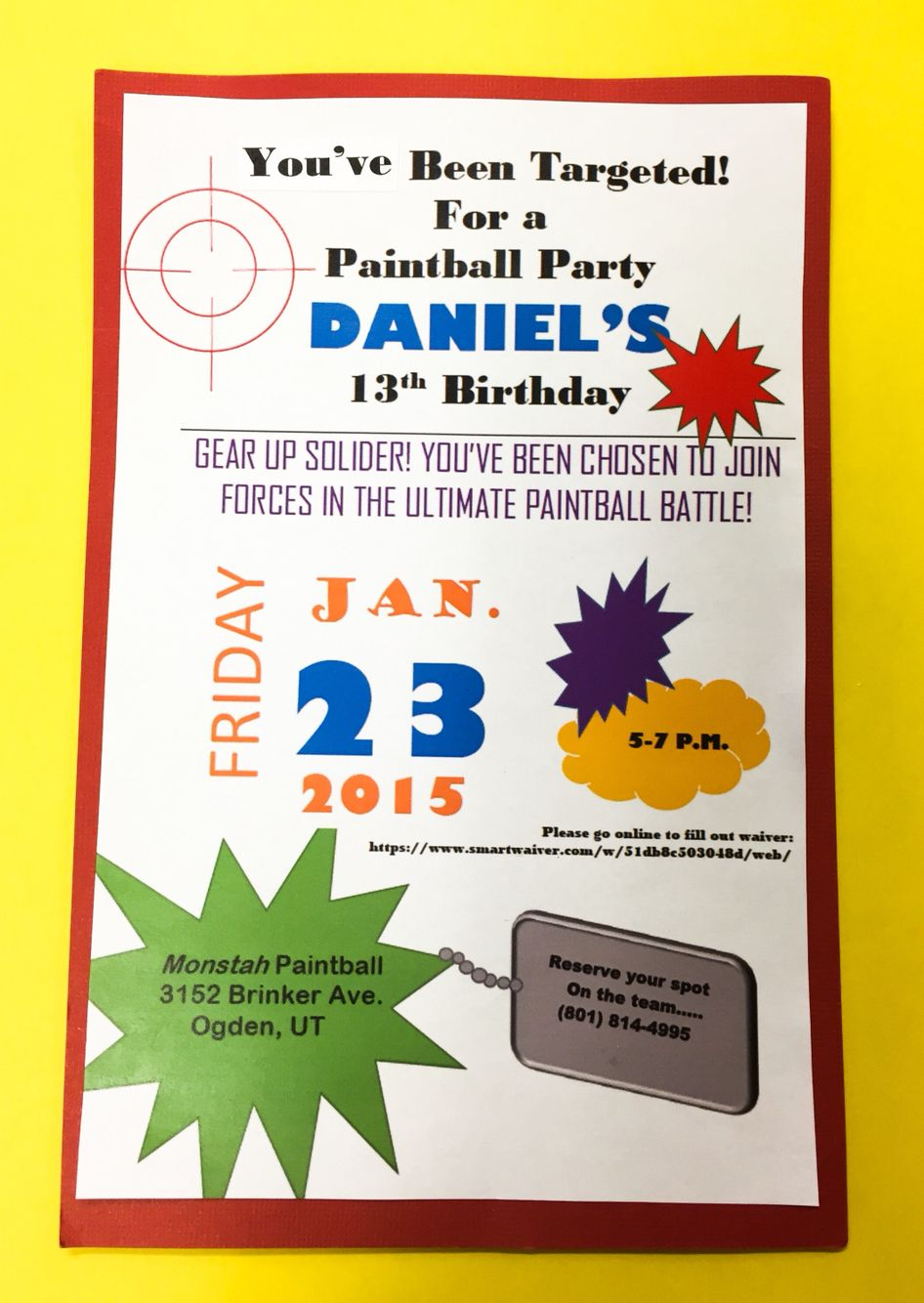 Paintball invite | Daniel\'s 13th Birthday-Paintball | Pinterest ...