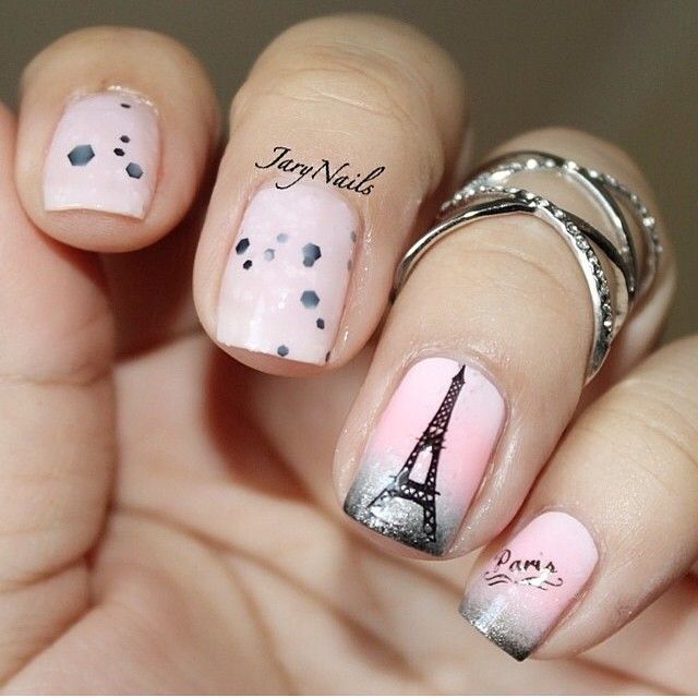 Love+art+nail+paris | ... nail art work for the combination of black and  pink sparkle nail - Cute I Love Paris Nail Art Collections Pinterest Paris Nail Art