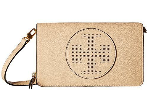 73ac57c4445c Tory Burch Leather Perforated Logo Flat Wallet Crossbody