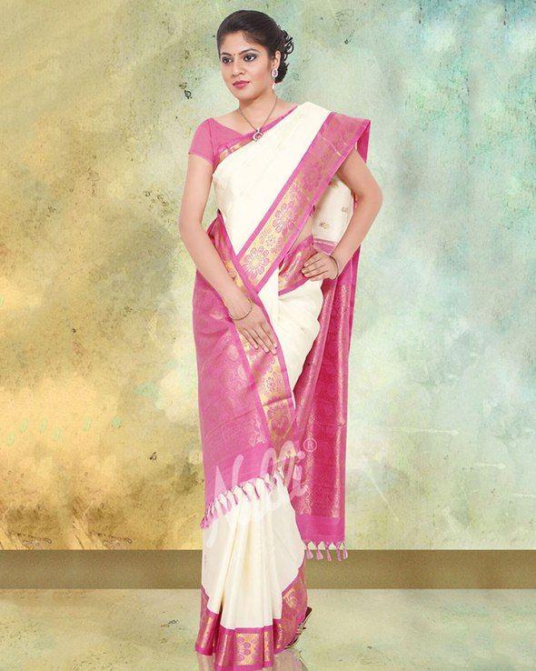 05e481266a White and Pink Kanchipuram Saree, Top 10 South Indian Wedding Silk/Cotton  Sarees Collection, 3 perfect types of South Indian Bridal dress,  Kancheepuram, ...