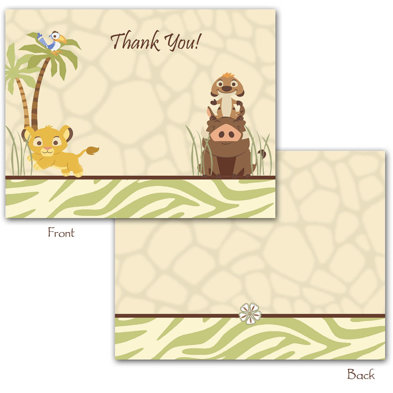 24 Printed Lion King Neutral Baby Shower Folded Thank You Cards ...