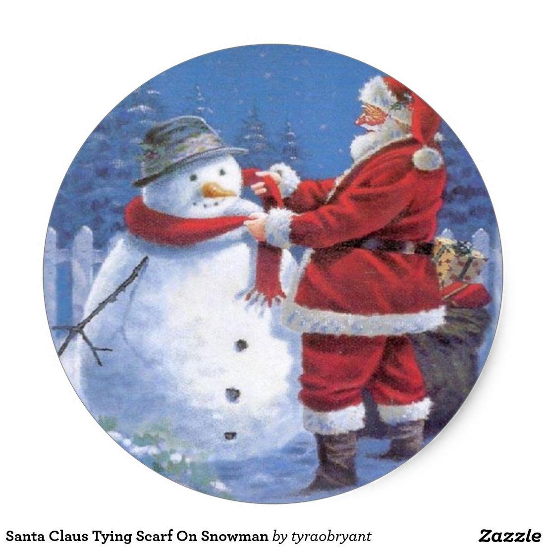 Santa Claus Tying Scarf On Snowman Classic Round Sticker