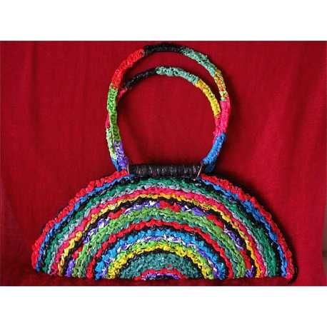 Chic Multicolor crocheted Recycled plastic bag purse with zipper and handles