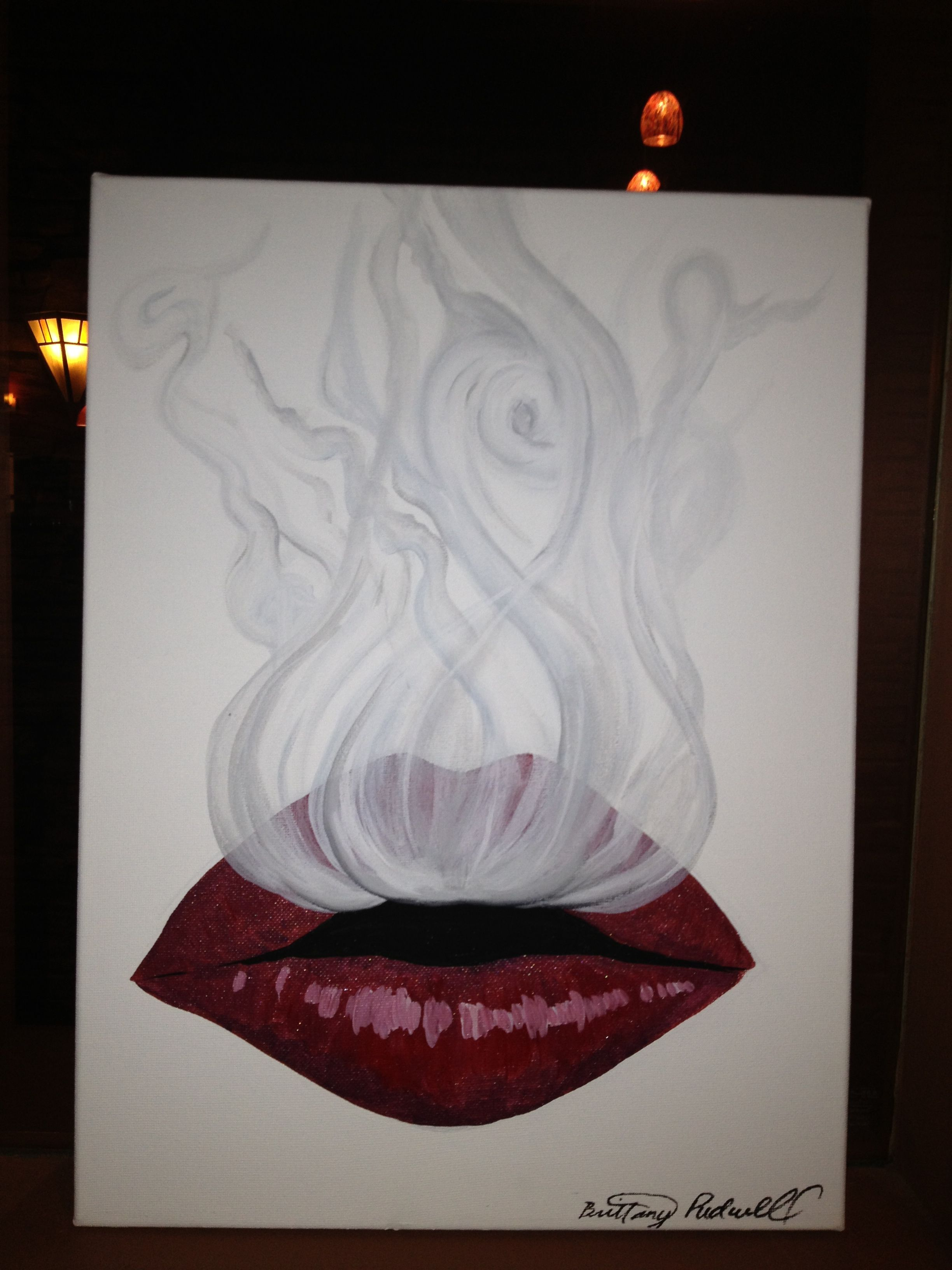 Red lips smoke drawings paintings tattoo ideas