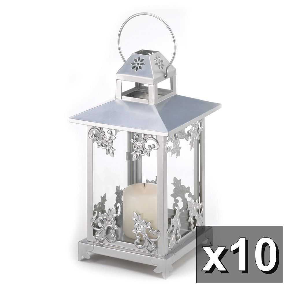 10 SILVER SCROLLWORK LANTERN WEDDING EVENT CENTERPIECES 15