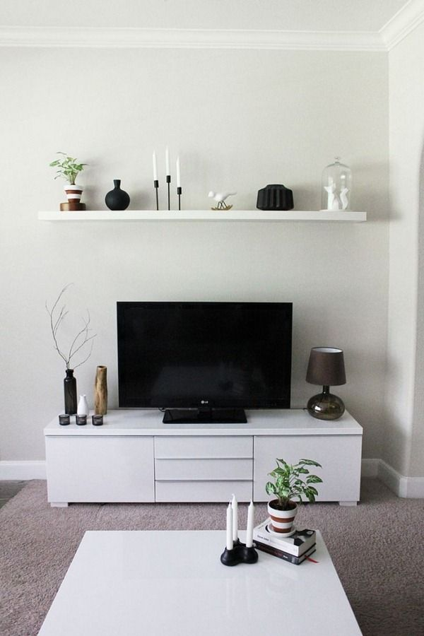 tv r gler buffet petit salon blanc flottant tag re murale. Black Bedroom Furniture Sets. Home Design Ideas