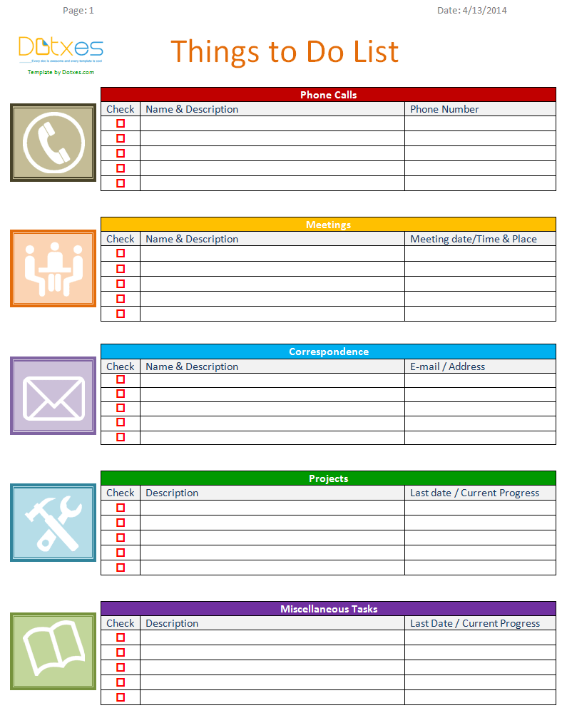 To Do List Template (Business Version)  Project Contact List Template