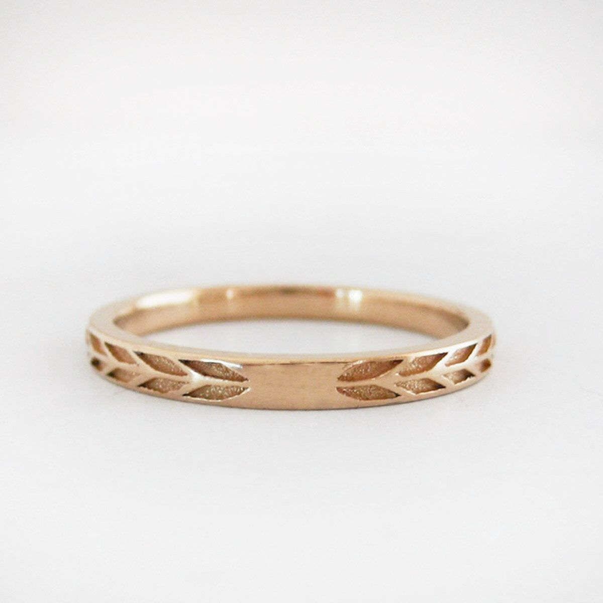 2mm Rose Gold Wedding Band Gold Arrow Wedding Band Eco friendly