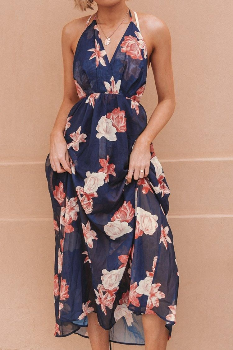 #CupShe Womens - CUPSHE Navy Floral Halter Backless Dress #shortbacklessdress