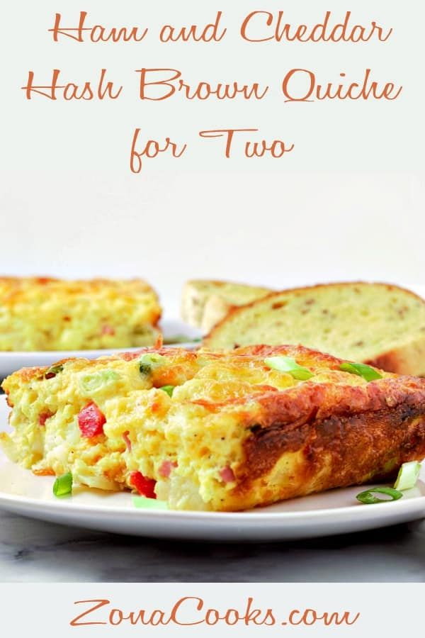 This Ham and Cheddar Hash Brown Quiche has a thick hash brown O'Brien crust layer topped with cub