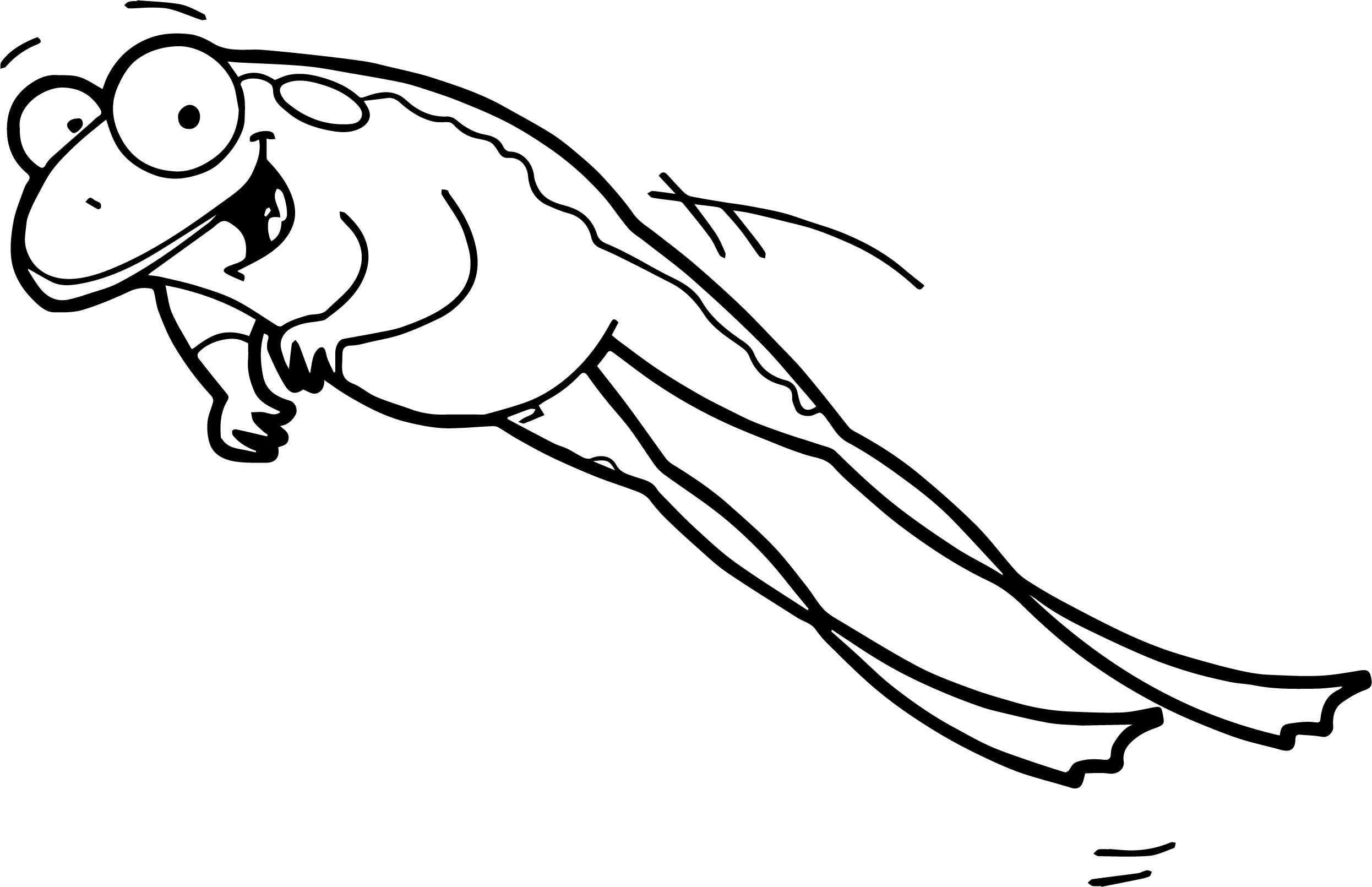 Cool Cartoon Jump Frog Coloring Page Frog Coloring Pages