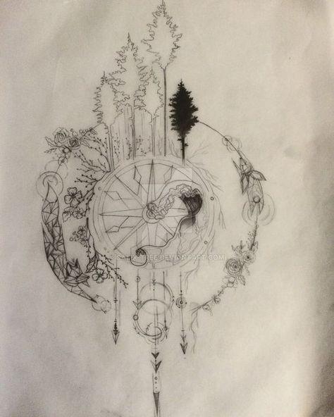 compass tattoo design series part 1 wip by salix tree