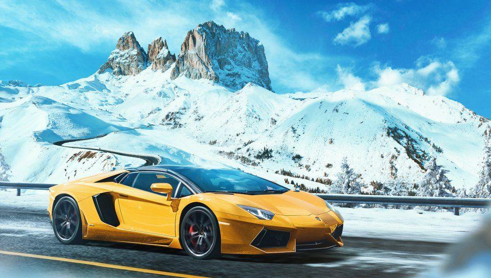 Yellow Outdoor Lamborghini Aventador Wallpaper Cars