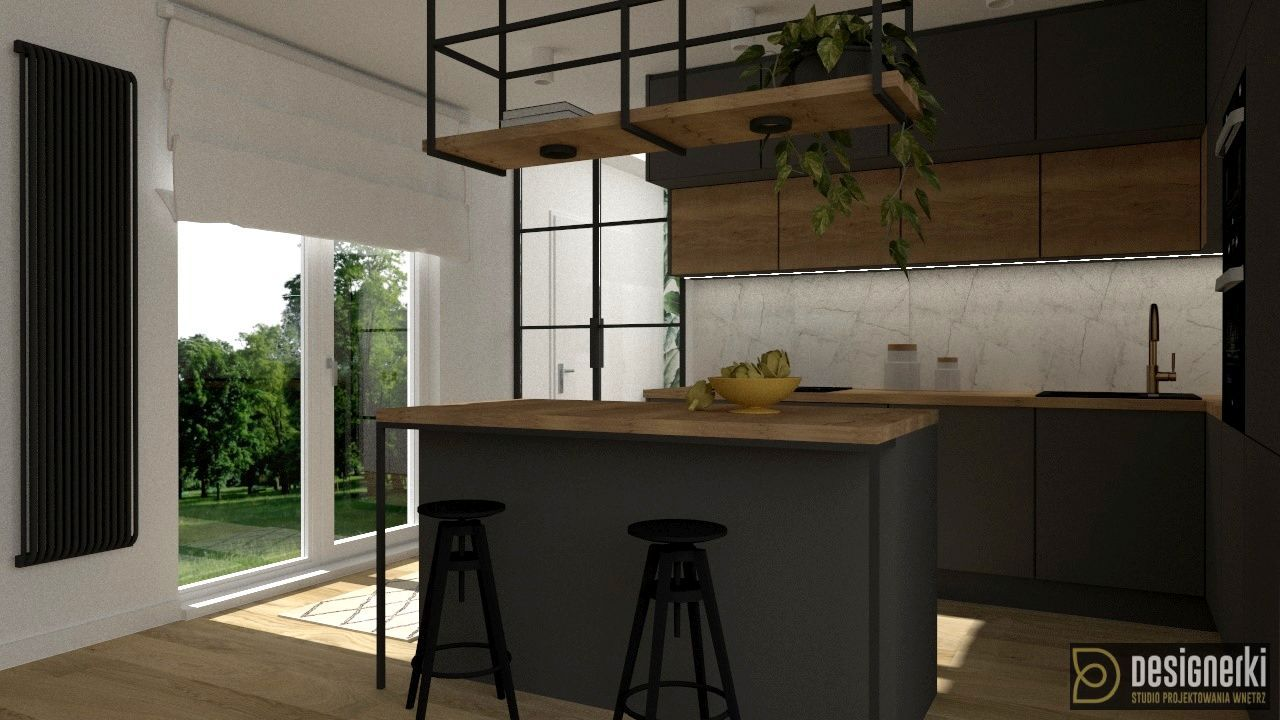 Kuchnia Wyspa W Kuchni Duze Okno Balkonowe Szare Meble Kuchenne Bialy Marmur Oswietlenie Nad Wysp Kitchen Design Decor Contemporary Kitchen Kitchen Design