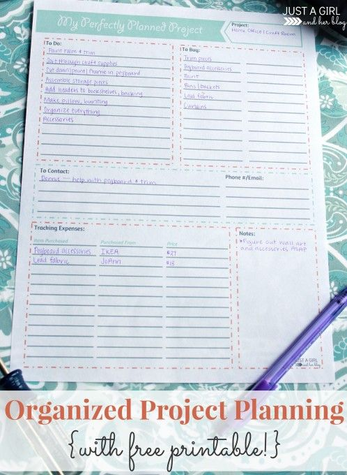 Project Planning Organizing Printable Organizing, Planners and Blog