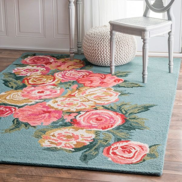 nuLOOM Handmade Contemporary Floral Blue Rug (7\'6 x 9\'6) | Rugs ...