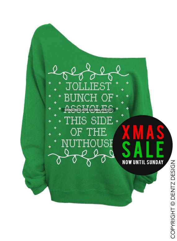 ugly christmas sweater blue slouchy oversized crew jolliest bunch of ssholes christmas vacation