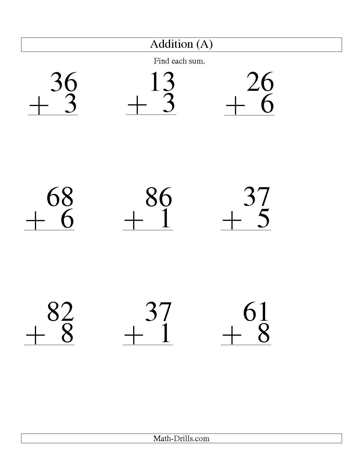 5 Free Math Worksheets First Grade 1 Addition Adding 2