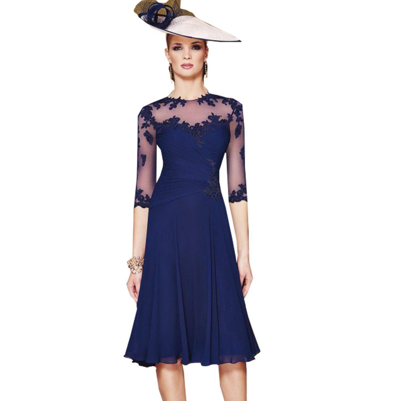 Fenghuavip stylish round collar navy blue chiffon mother