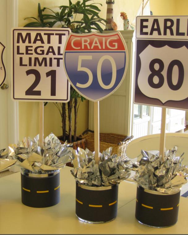Centerpieces for milestone birthday Birthday party centerpieces