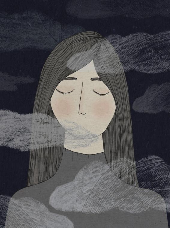 Ilustraciones que expresan el dolor de una mujer que nunca dice lo que siente