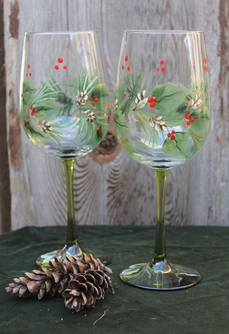 Hand Painted Christmas Wine Glasses Set Of 2 Green Stem Painted Wine Glasses Christmas Christmas Wine Glasses Hand Painted Hand Painted Wine Glasses