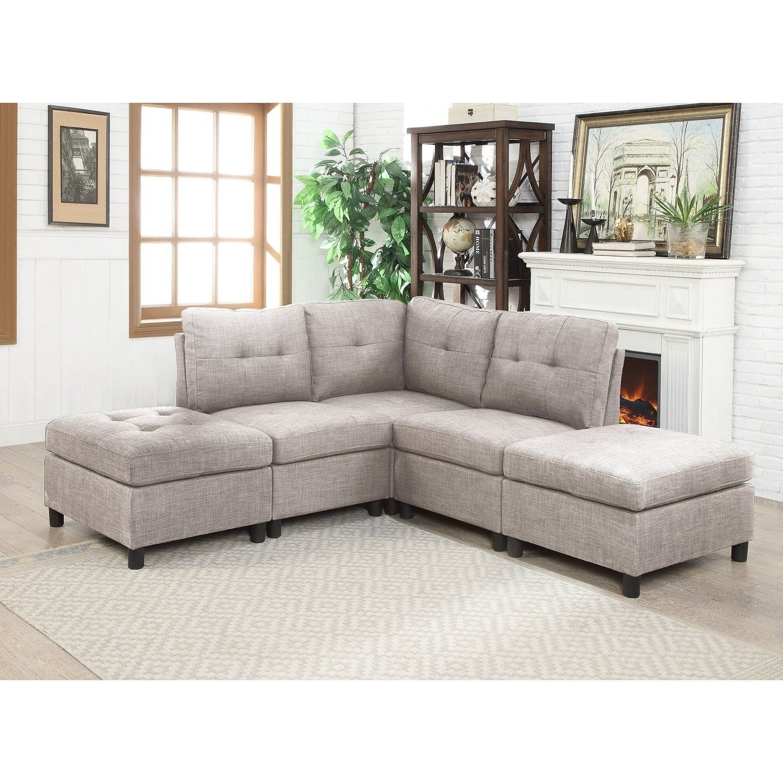 Cool 5Pcs Grey Linen Fabric Modular Sectional Sofa Gray Short Links Chair Design For Home Short Linksinfo