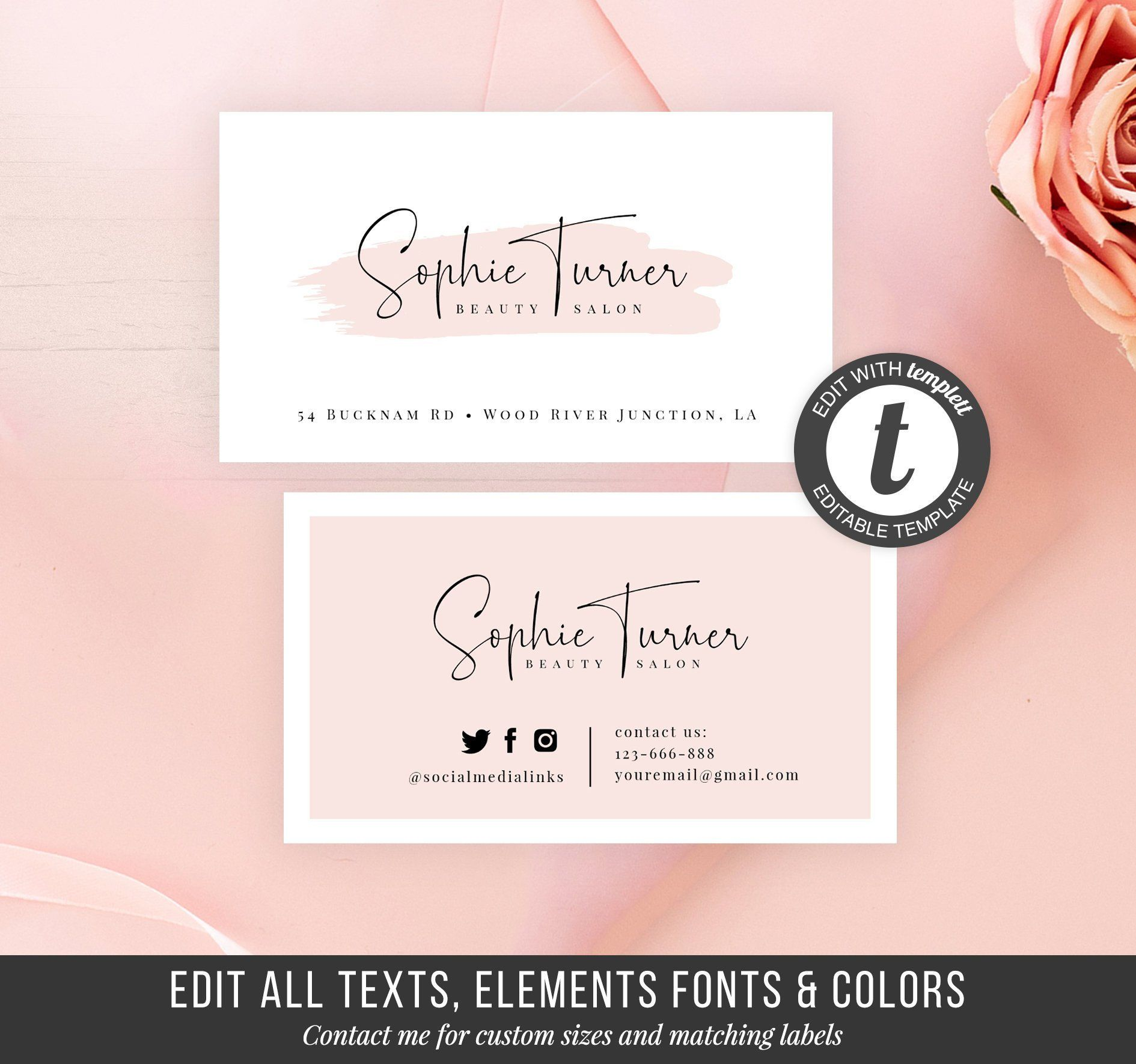 Printable Business Card Template Diy Business Card Instant Beauty Business Card Online Store Cards Calling Cards Business Stationery Printable Business Cards Diy Business Cards Card Template