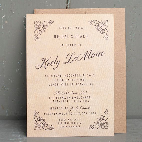vintage bridal shower invitation gatsby 20s inspired victorian antique rustic on etsy 260