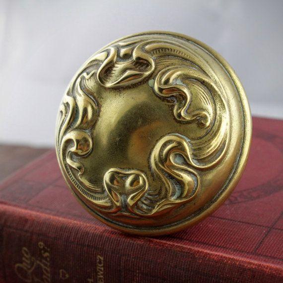 Art Nouveau Door Knob   Antique Brass Door Handle   Vintage Metal Door Pull    Heritage Home Hardware   Antique Gold Tone Metal Doorknob