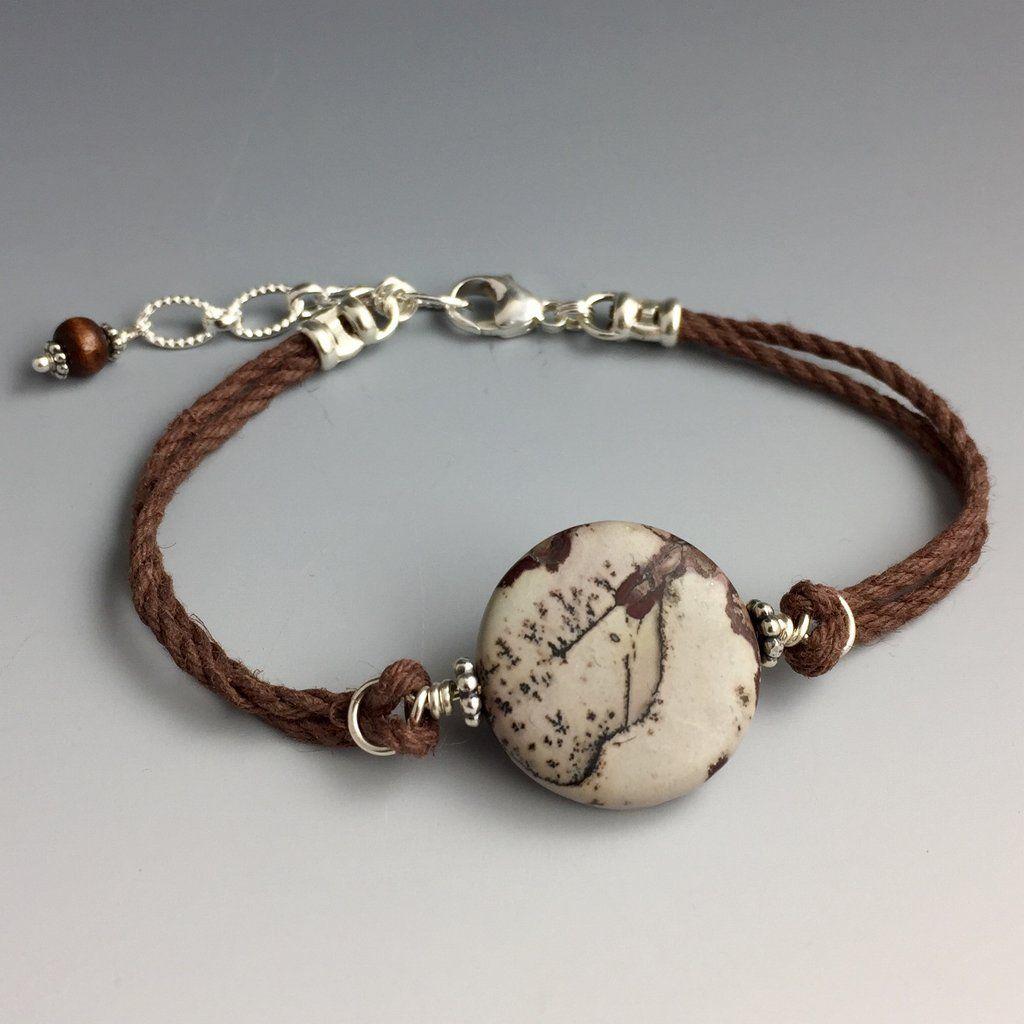 Leopardskin Jasper, Sterling Silver & Hemp Bracelet