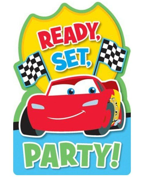Disney Cars 1st Birthday Save The Date Party Invitations
