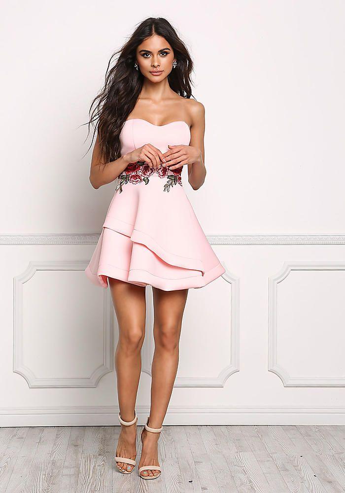 ca0ee51c3 Blush Strapless Rose Applique Flared Dress | sophia miacova ...