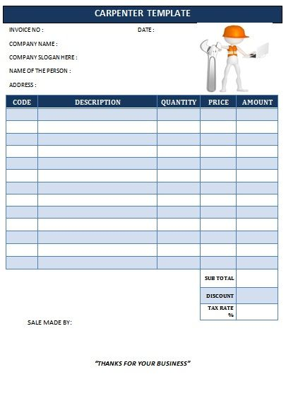 CARPENTER INVOICE TEMPLATE-20 Carpenter Invoice Templates - invoice models
