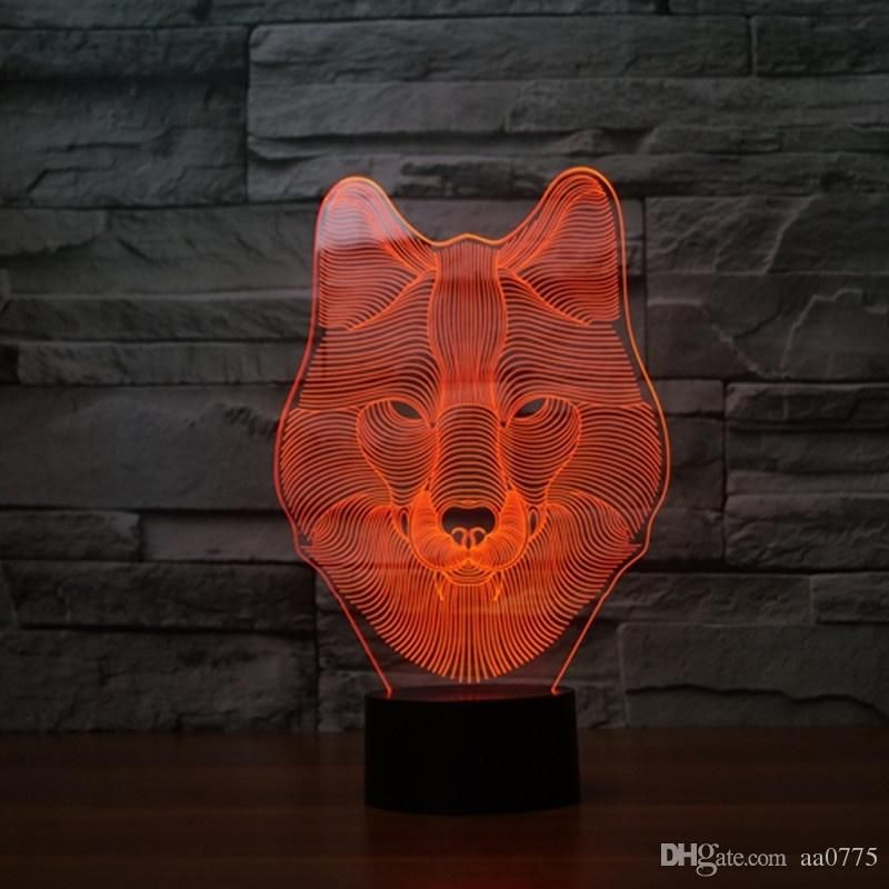 Wolf Led Light 3d Touch Lamp Light Colorful Change Visual Illusion Lamp Light Gift Car Novelty Gifts Cat Novelty G Night Light Kids 3d Illusion Lamp Touch Lamp