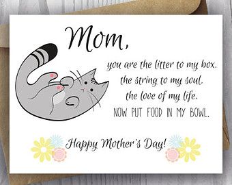 Funny Birthday Song Card From The Cat Printable Funny Happy Etsy Cat Poems Mothers Day Poems Kitten Care