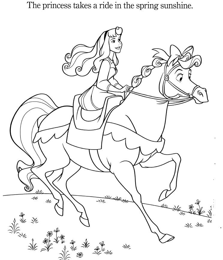 Princess Aurora And Her Horse Horse Coloring Pages Sleeping Beauty Coloring Pages Coloring Pages