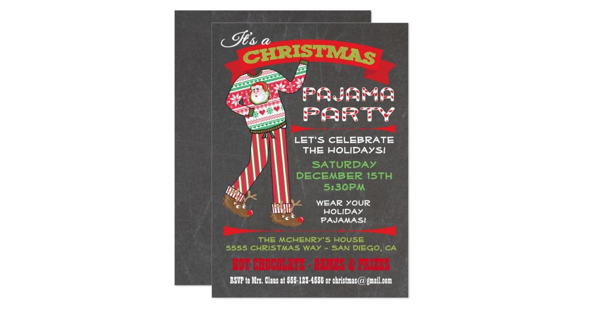Chalkboard Christmas Pajama Party Invitations Super cute for the ...