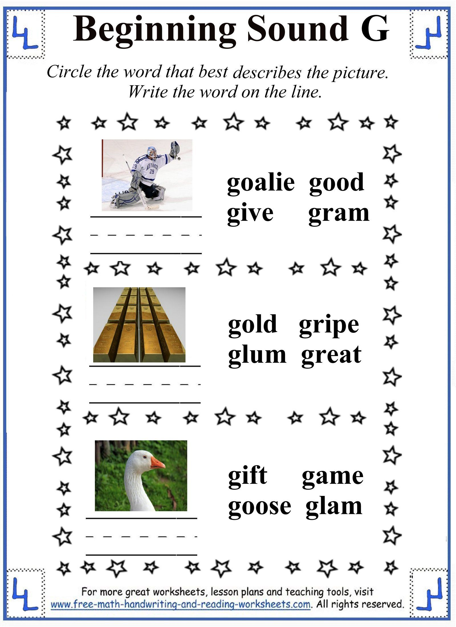 Learn the hard /g/ sound with these free letter G worksheet activities and  tasks covering beginning and ending sounds.