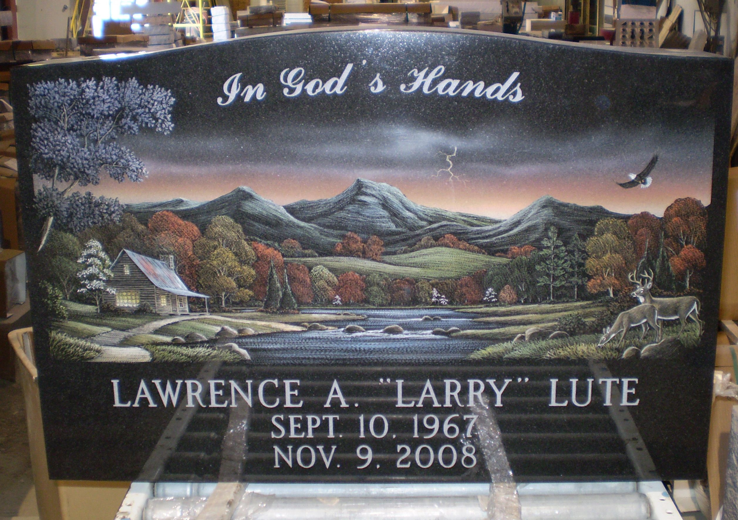 Black Headstones With Nature Scene Etchings