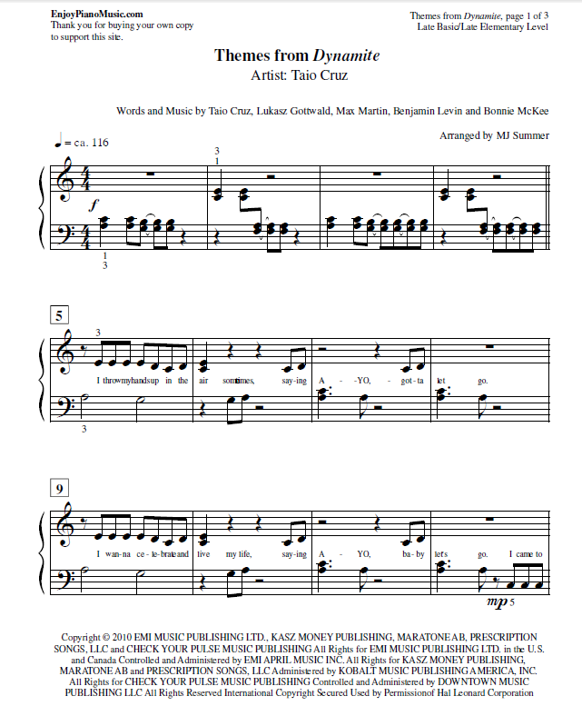 Piano piano sheet music for popular songs : Dynamite by Taio Cruz Sheet Music for Easy Piano at Late ...