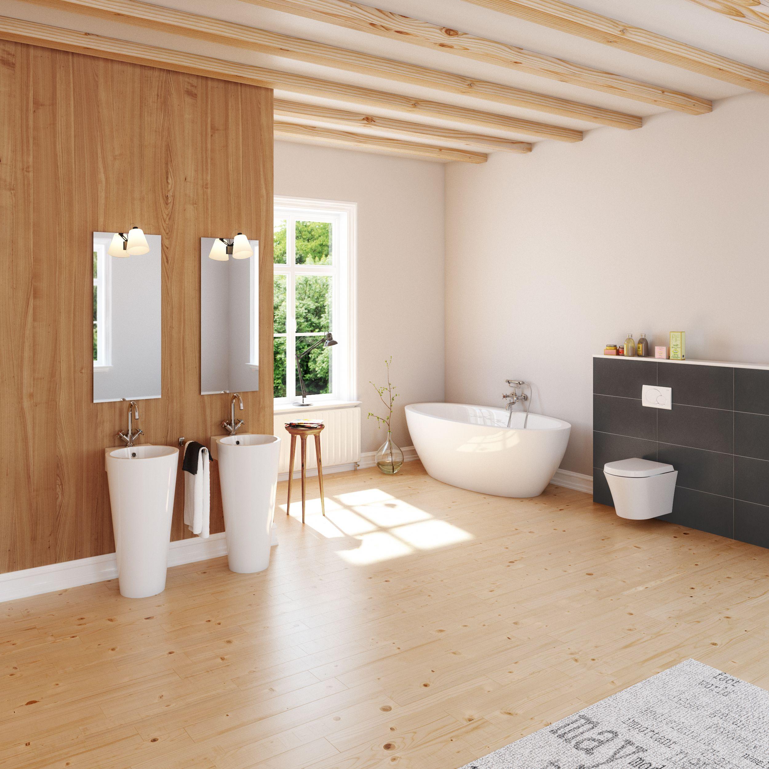 Badgestaltung Mit Holz bad aufmöbeln holz großformatige fliesen standwaschtische und