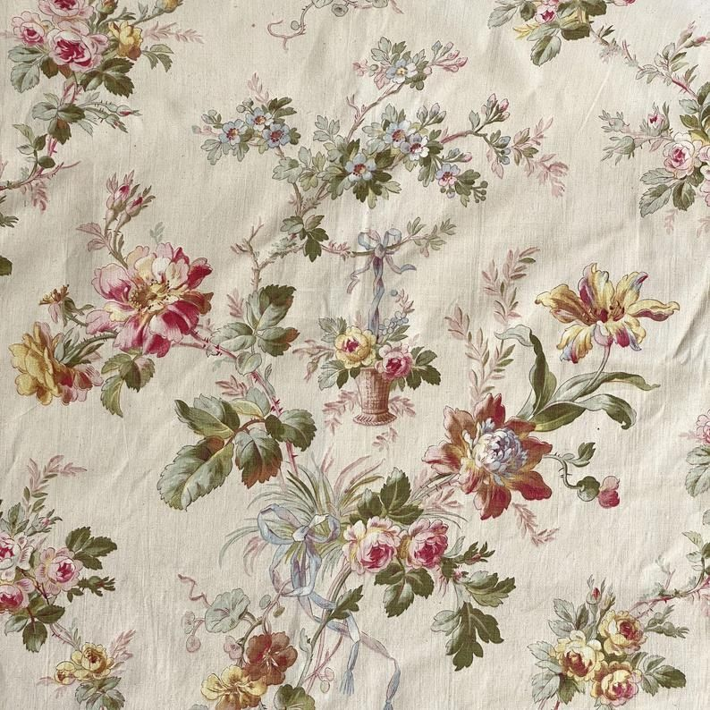Antique French Textiles Fabric Material Botanical With Basket 1870 Floral Upholstery Fabric Pretty Backgrounds Antiques