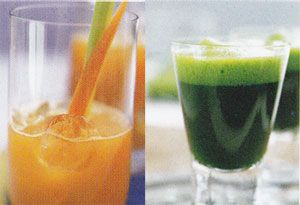 http://www.allhealthyjuicerecipes.com/juicing-recipes-for-diabetes/juicing-recipes-for-diabetes.php    Fruit and vegetable juices high in soluble fiber can prevent the highs and lows of blood sugar and reduce insulin requirements for the diabetics.